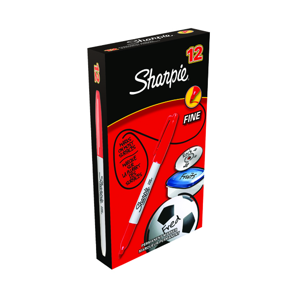Sharpie Red Permanent Marker Fine (Pack of 12) S0810940