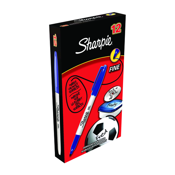 Sharpie Blue Permanent Marker Fine (Pack of 12) S0810950