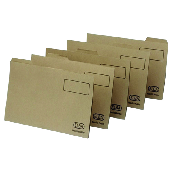 Elba Foolscap Buff Midweight Tabbed Folder Pack of 100 100090233