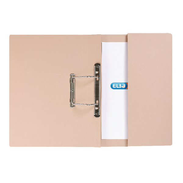 Elba Strongline Foolscap Buff Spring Pocket File Pack of 25 100090145