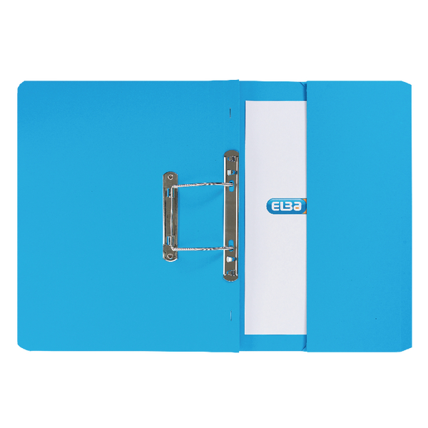 Elba Strongline Foolscap Blue Spring Pocket File Pack of 25 100090146