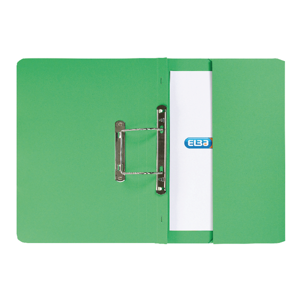 Elba Strongline Foolscap Green Spring Pocket File Pack of 25 100090147