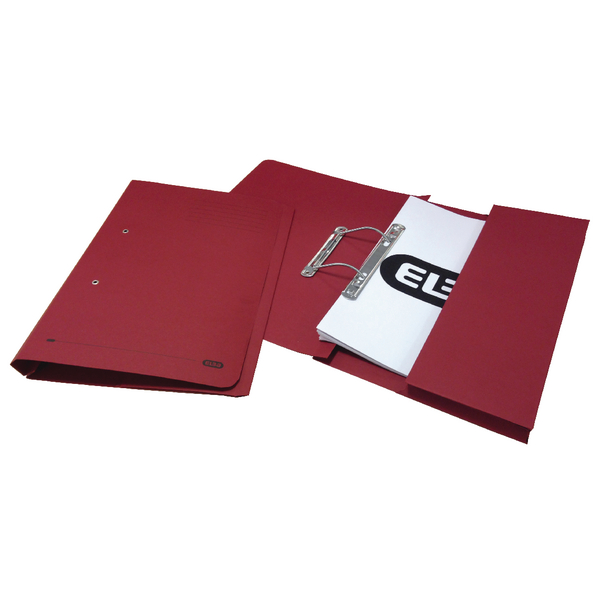 Elba Strongline Foolscap Bordeaux Spring Pocket File Pack of 25 100090149