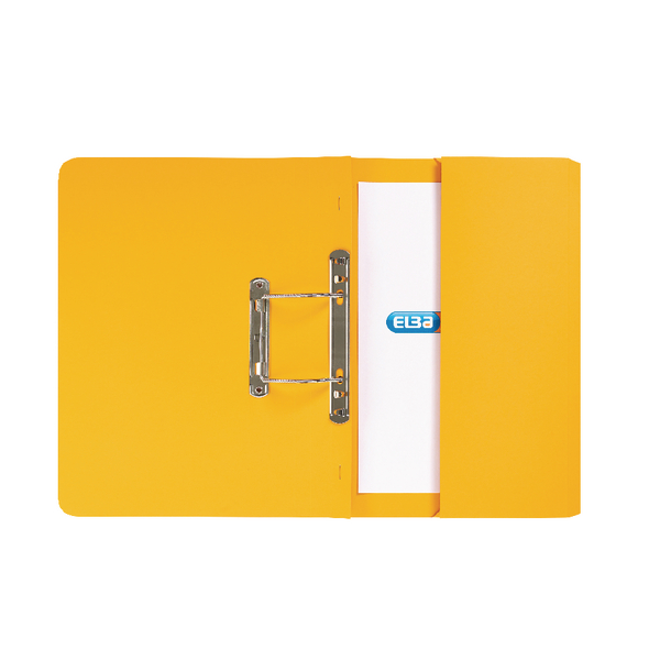 Elba Strongline Foolscap Yellow Spring Pocket File Pack of 25 100090150