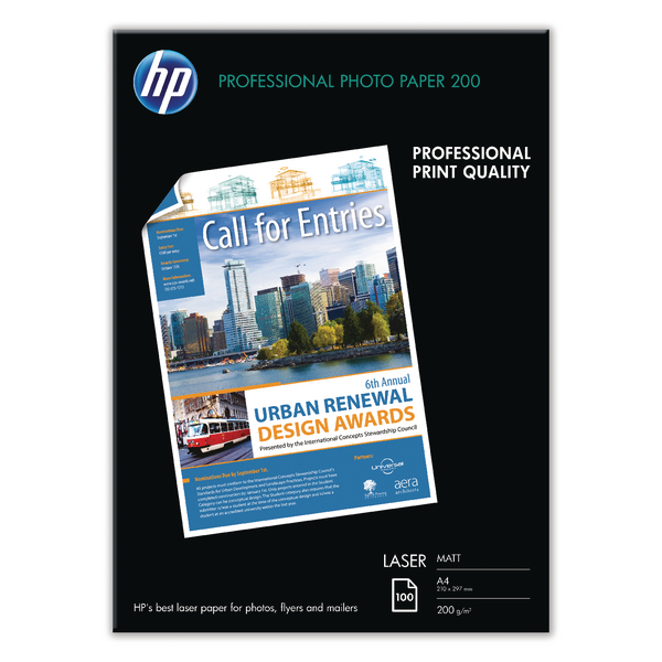 HP A4 White Professional Matte Laser Paper 200Gsm (Pack of 100) Q6550A