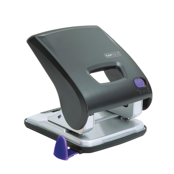 Rapesco X5-30ps Less Effort 2 Hole Punch 30 Sheets Black and purple