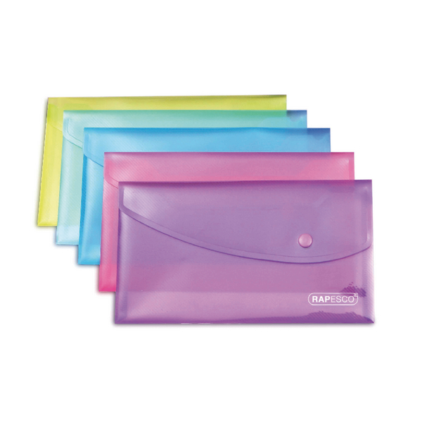 Rapesco Popper Wallet A5 Assorted (Pack of 5) 0689
