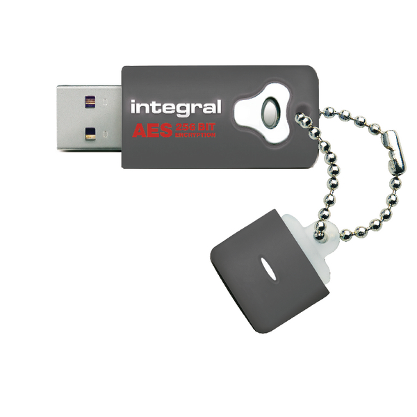 Integral Crypto Encrypted USB 8Gb Flash Drive Grey INFD8GCRYPTO197