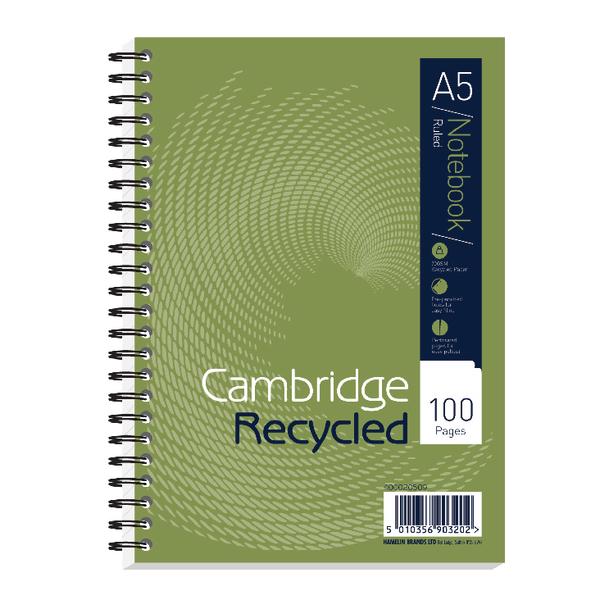 Cambridge Recycled A5 Wirebound Notebook Pack of 5 400020509