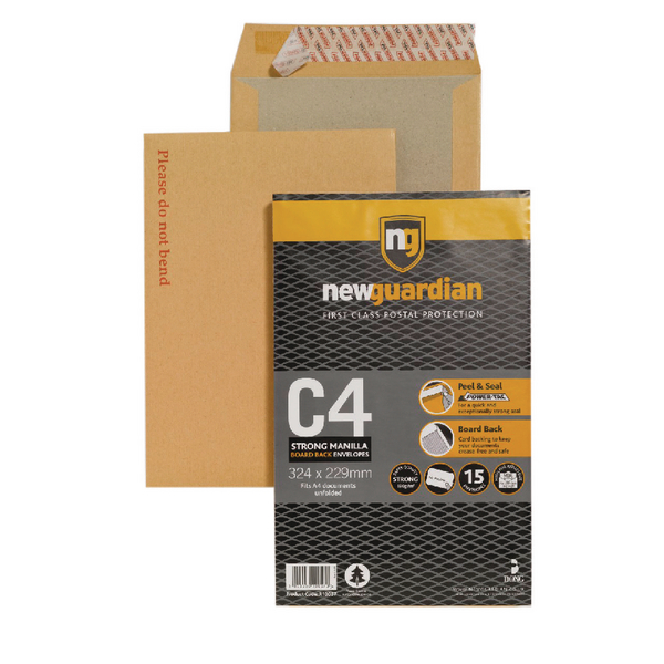 New Guardian Envelope C4 130gsm Board Back Peel and Seal Printed Please do not bend Pack of 15 16-BUK-008