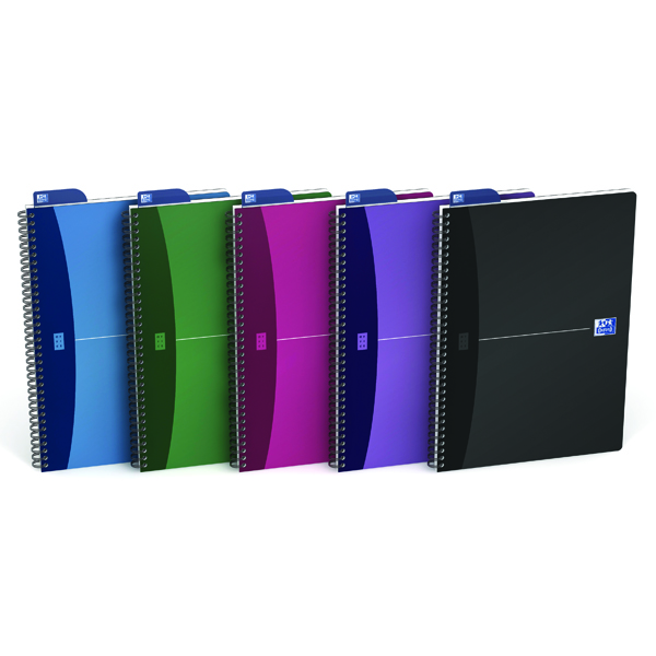 Oxford Office A4 Assorted Metallic Wirebound Notebook Pack of 5 100101918