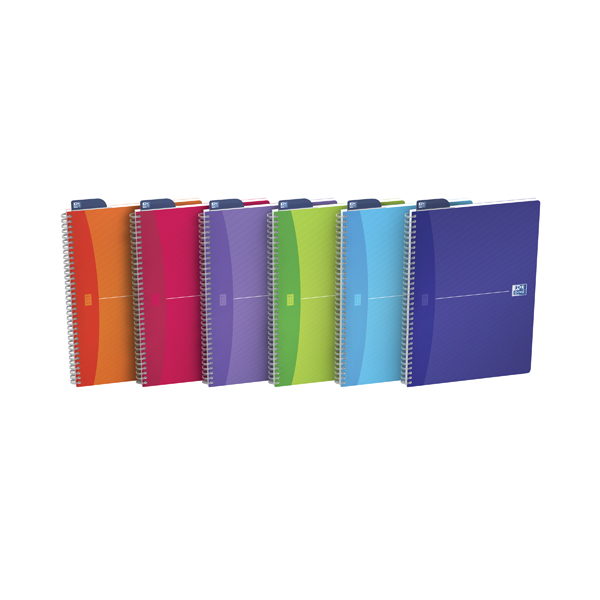 Oxford Office A4 Translucent Assorted Soft Cover Wirebound Notebook Pack of 5 100104241