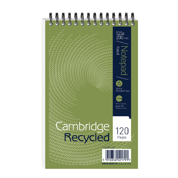 Cambridge Recycled Reporters Notebook Ruled 120 Pages Pack of 10 100080120