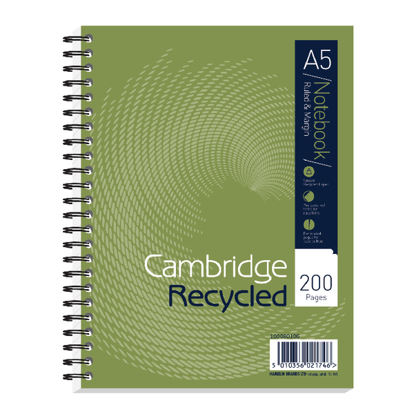 Cambridge Recycled Ruled Wirebound Notebook 200 Pages A5+ (Pack of 3) 100080106