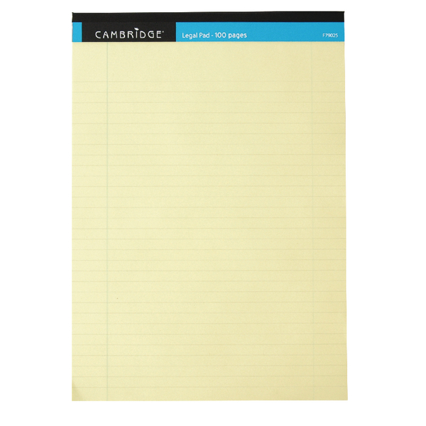 Cambridge Everyday Ruled Legal Pad 100 Pages A4 Yellow (Pack of 10) 100080179