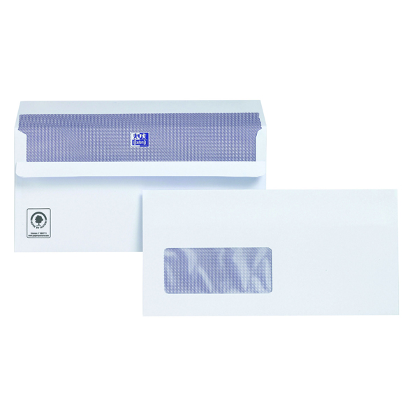 Plus Fabric DL Window Envelopes 120gsm Self Seal White (Pack of 500) C22570