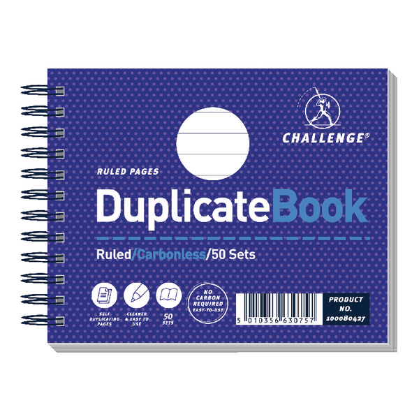 Environmentally Friendly Challenge Wirebound Ruled 105 x 130mm Duplicate Book Carbonless 50 Sets Pack of 5 100080427