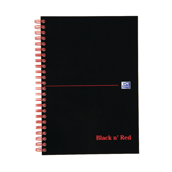 Black n Red A5 Wirebound Notebook 100 Pages Pack of 10 D66369