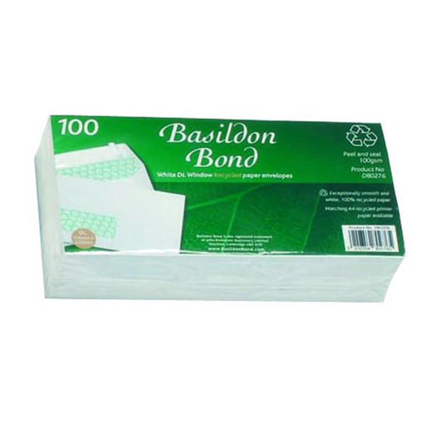 Basildon Bond DL Window Envelopes 120gsm Peel and Seal White (Pack of 100) D80276