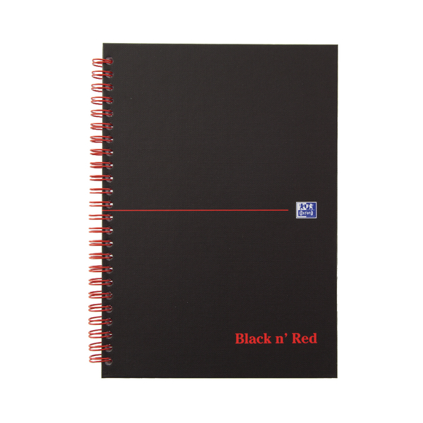 Black n Red A5 Wirebound Hardback Notebook 140 Pages Ruled Pack of 5 846354906