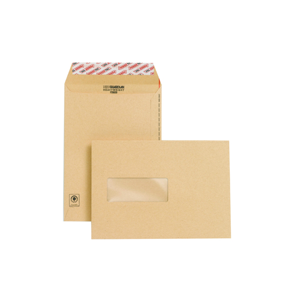 New Guardian C5 Window Envelopes 130gsm Manilla Peel and Seal (Pack of 250) F26639
