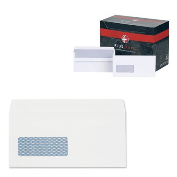 Plus Fabric DL Window Envelopes 120gsm Wallet Self Seal White (Pack of 500) J22370