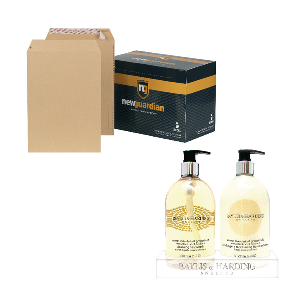 New Guardian Easy Peel C4 Envelopes Pack of 250 with Free Bayliss & Harding Set JDJ814005