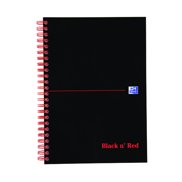 Black n Red A5 Plus Wirebound Hardback Notebook 140 Pages Smart Ruled Pack of 5 846354904