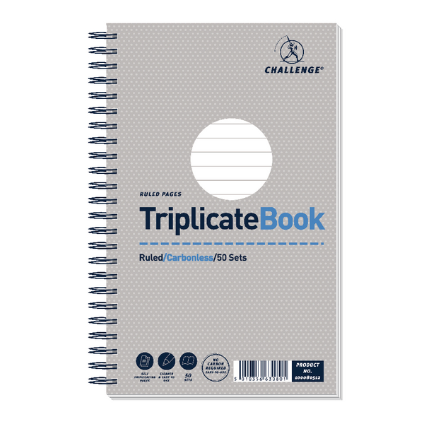 Challenge Wirebound Triplicate Book Ruled Carbonless 50 Sets 210 x 130mm Pack of 5 100080512