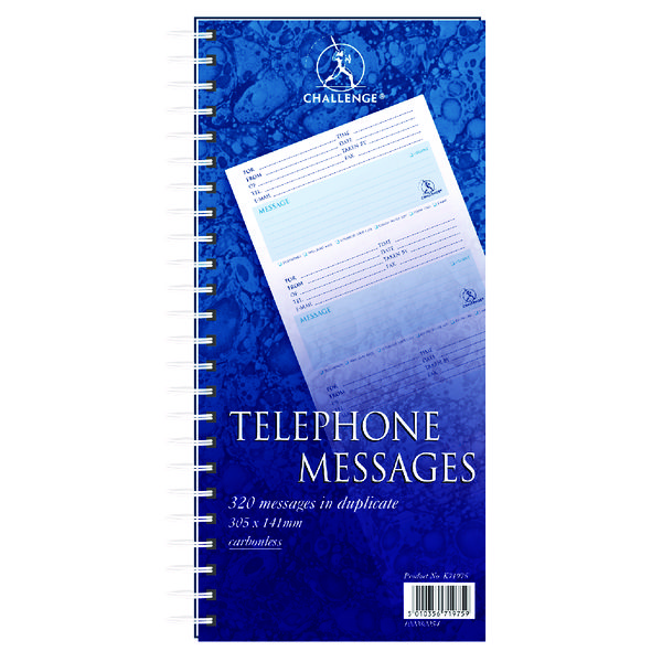 Environmentally Friendly Challenge Wirebound Telephone Message Book 305 x 141mm 320 Messages 100080054