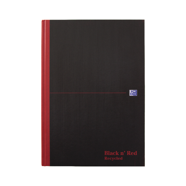 Black n Red A4 Casebound Hardback Recycled Notebook 192 Pages Pack of 5 100080530