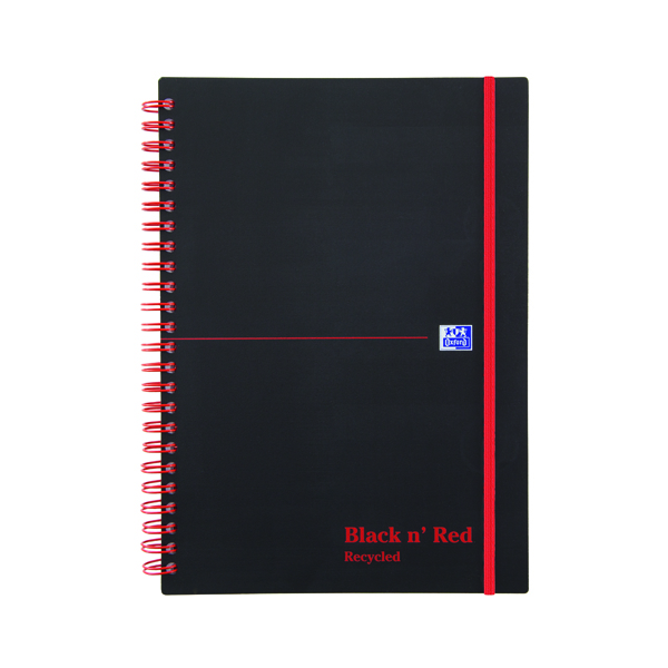 Black n Red A5 Wirebound Polypropylene Recycled Notebook 140 Pages Pack of 5 846350963