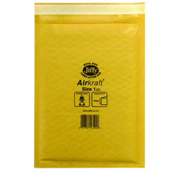 Jiffy AirKraft Mailer Size 1 170x245mm Gold (Pack of 10) mmUL04603