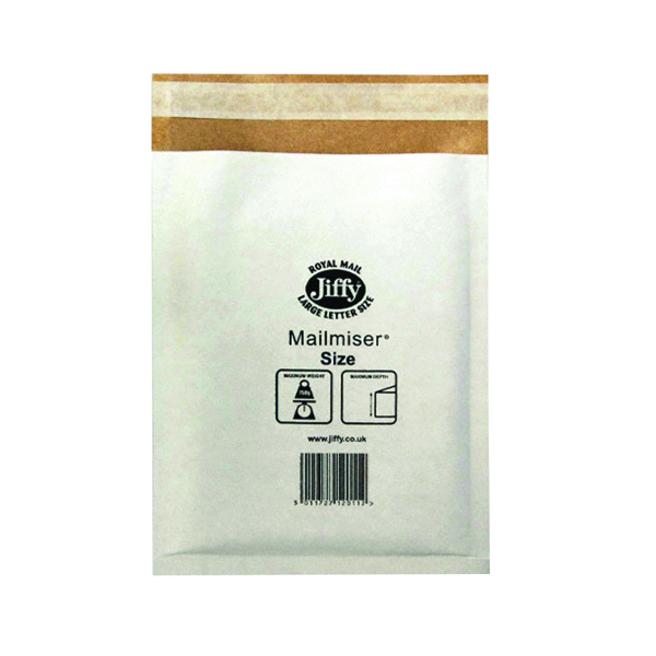 Jiffy Mailmiser Size 3 220x320mm White (Pack of 50) Jmm-WH-3
