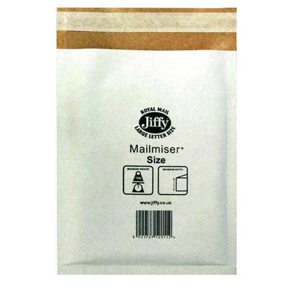 Jiffy Mailmiser Size 1 170x245mm White (Pack of 10) 2220