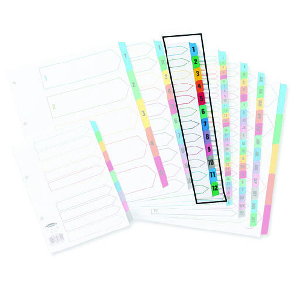 Concord 1-12 A4 White With Multi-Colour Index Tabs 01301/CS13