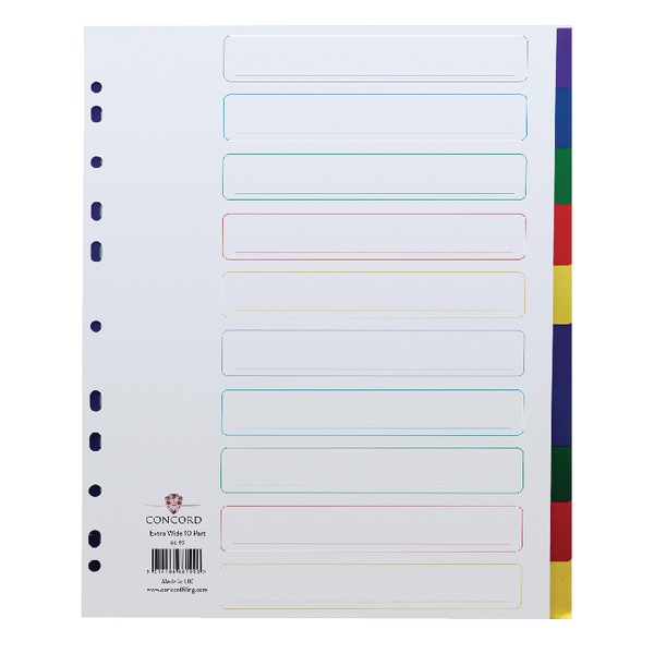 Concord Polypropylene A4 Divider Extra Wide 10 Part Multicoloured 66199