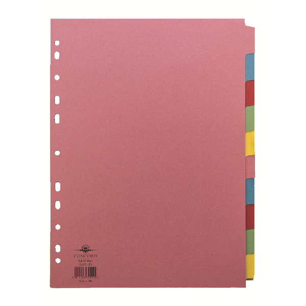 Concord A4 10-Part 5-Colour Dividers (1 Set of 10) 72099/J20