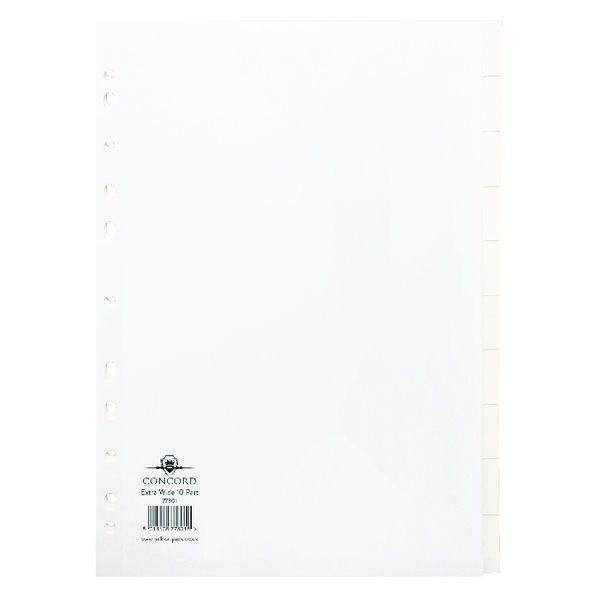 Concord A4 Subject Divider Extra-Wide For Punched Pocket 10-Part 77801/78