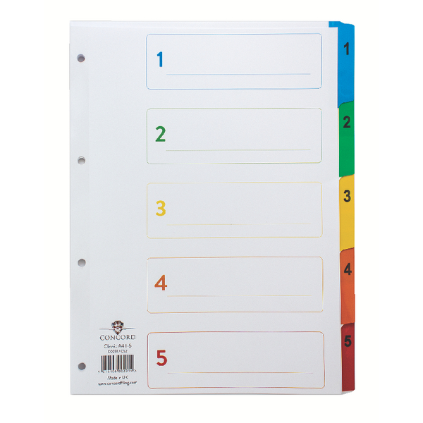 Concord Index 1-5 A4 White With Multicolour Tabs 00201/CS2