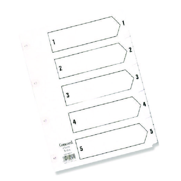 Concord Classic Index 1-5 A5 White Board With Clear Mylar Tabs 07001/Cs70
