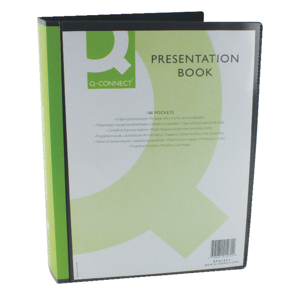Q-Connect Presentation Display Book 100 Pocket Black KF01271