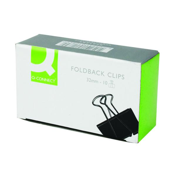 Q-Connect 32mm Black Foldback Clip (Pack of 10) KF01284