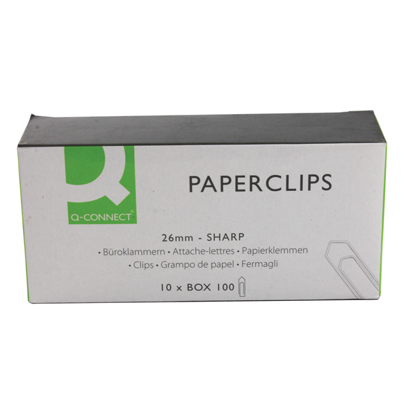 Q-Connect 26mm No Tear Paperclips (Pack of 1000) KF01307Q