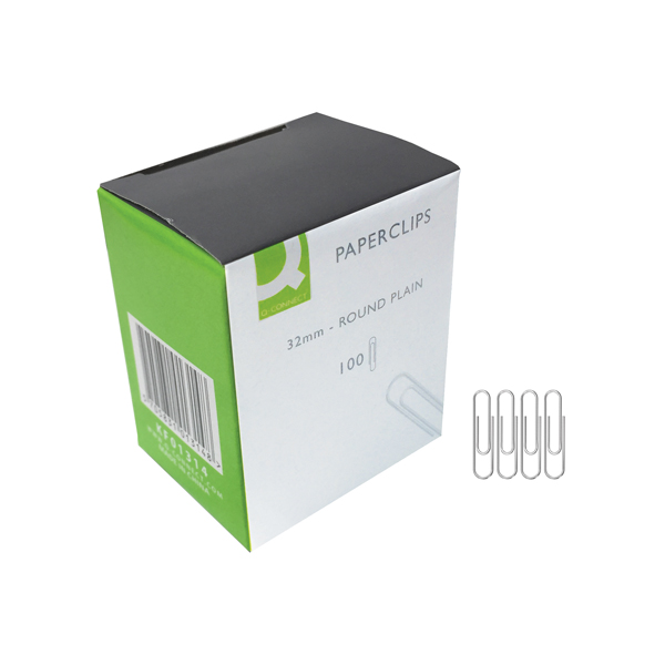 Q-Connect 32mm Plain Paperclips (Pack of 1000) KF01314Q
