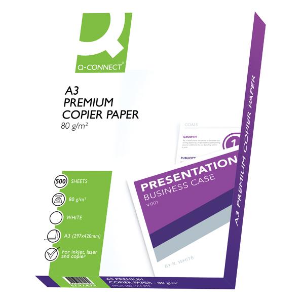 Q-Connect Premium Copier/Laser A3 Paper 80gsm White Ream KF01425 (Pack of 500)