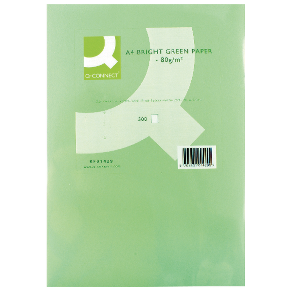 Q-Connect Bright Green Coloured A4 Copier Paper 80gsm Ream (Pack of 500)