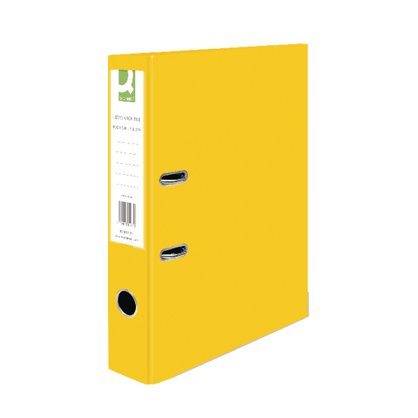 Q-Connect Lever Arch File Paperbacked Foolscap Yellow (Pack of 10) KF01471