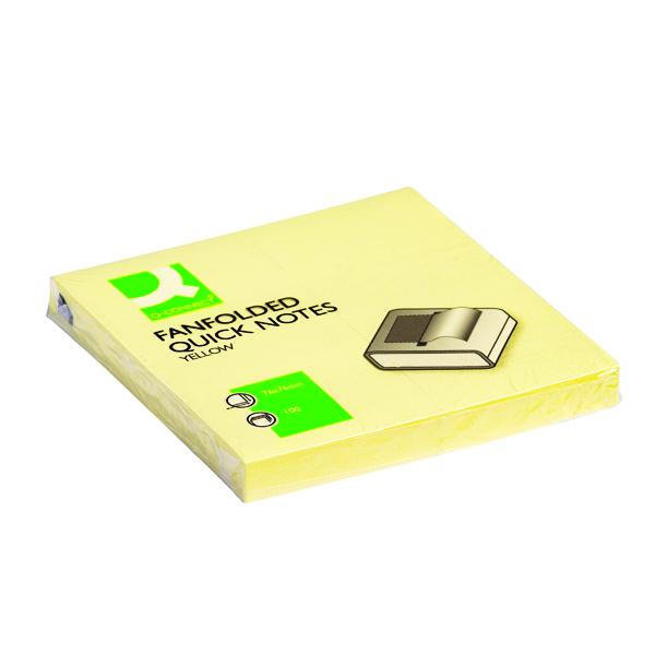 Q-Connect Fanfold Quick Notes 75 x 75mm Yellow Pack of 12 KF02161