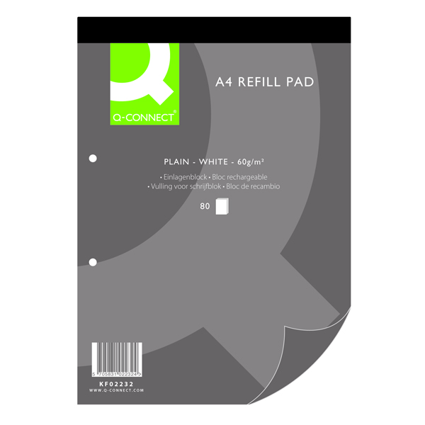 Q-Connect Plain A4 Refill Pad 80 leaf (Pack of 10) KF02232